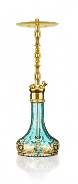ATH Shisha T Brass BA Collection mit Zumrut Base & Hurrem Rauchsäule Türkis
