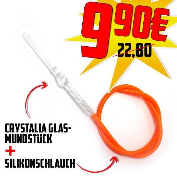 Crystalia Ball Riffle Clear Glasmundstück + Silikonschlauch