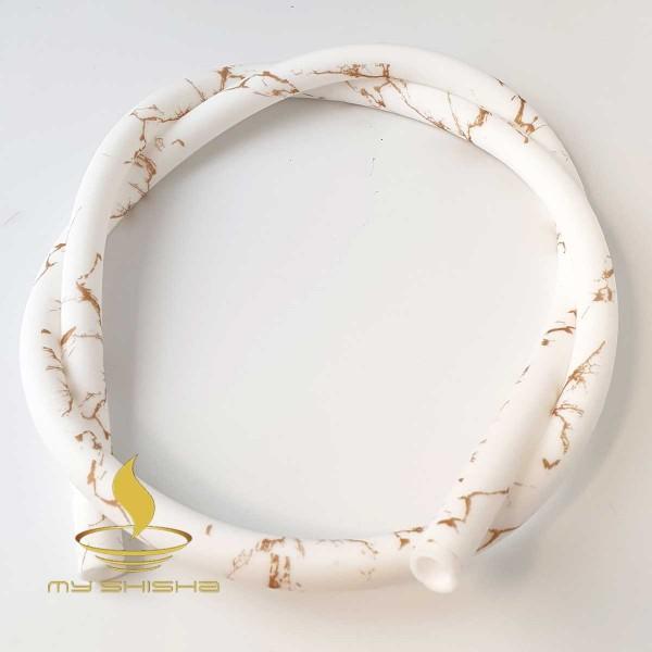 MY SHISHA Silikonschlauch Muster Marmor Weiß Gold Lebensmittelecht